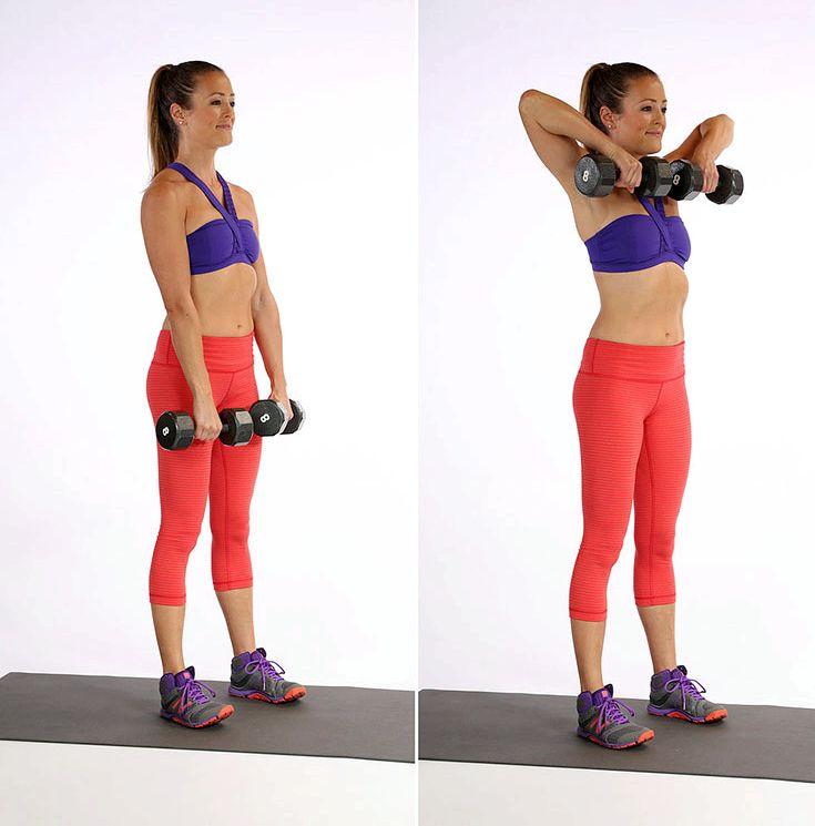 Упражнения для рук с гантелями для женщин Встаньте прямо или сядьте