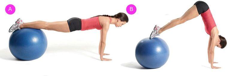 Упражнения на фитболе для пресса Скручивания на мяче для фитнеса