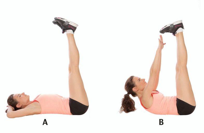 Упражнения на нижний пресс для сжигания жира Ноги должны быть прямыми