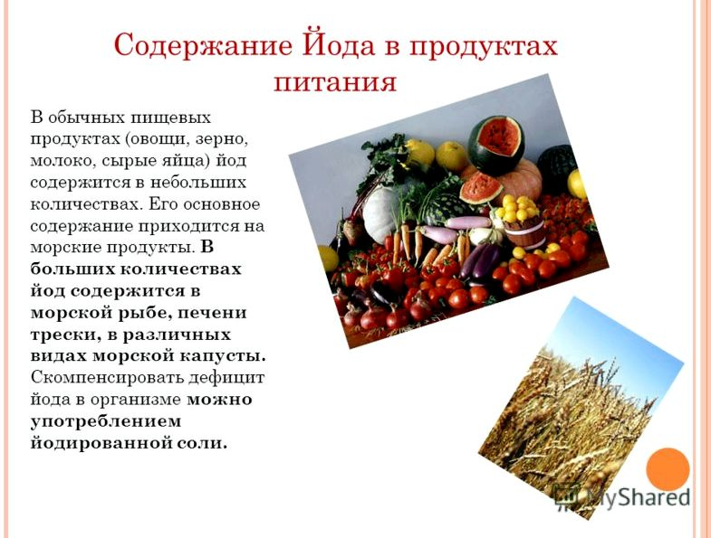 В каких продуктах содержится йод качестве дополнительных источников