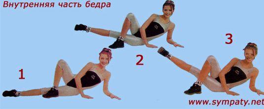 Упражнения чтобы убрать ляшки с внутренней стороны Слегка приподнимите ноги на