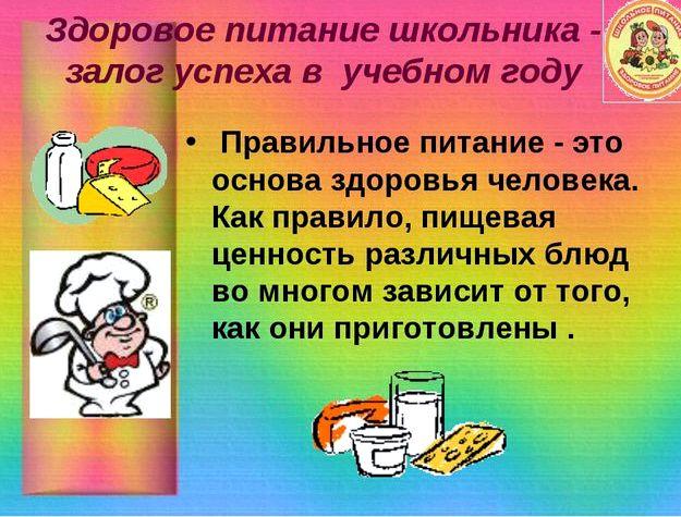 Здоровое питание школьника от 20 до 30